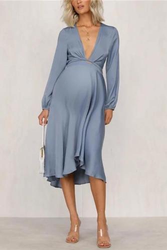 Maternity Deep V-neck solid color dress