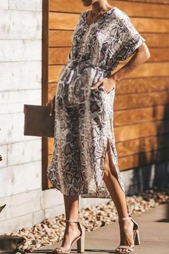 Maternity Short-Sleeved Banded Snake Print Dress