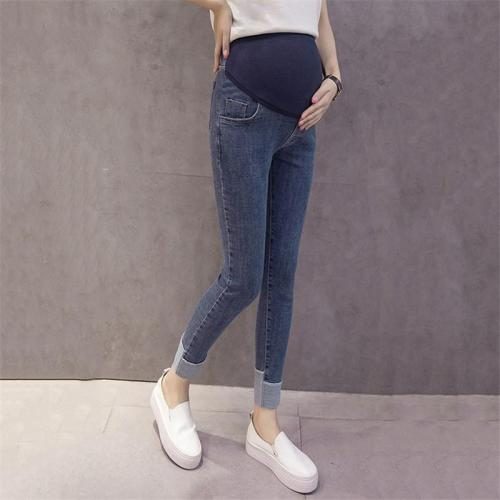 Maternity wear stitching color wearing jeans
