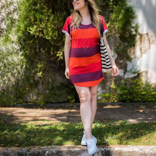 Maternity Striped Loose Breathable Dress