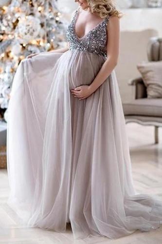 Glitter Sequins Chiffon Maternity Ladies V-Neck Sleeveless Photography Prop