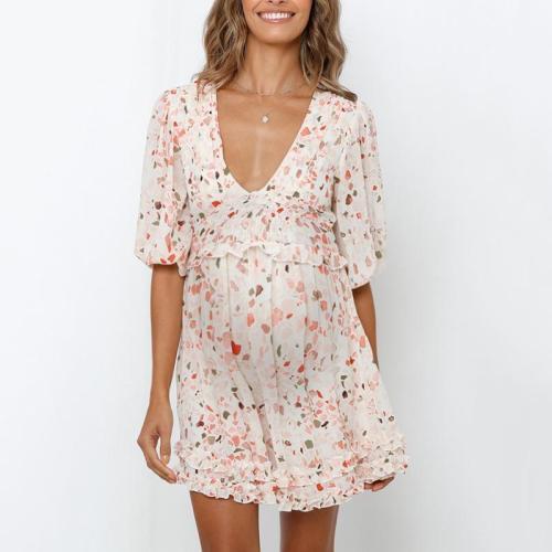 Maternity V-neck Sexy Fresh Lace Pleated Dress