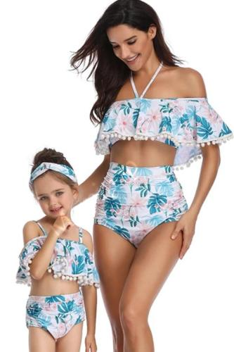 2020 Parent Swimsuit Printed High Waist Bikini