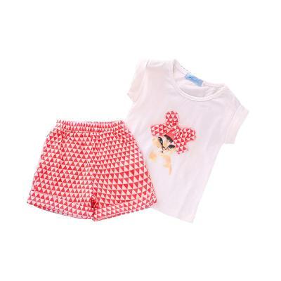2020 new girls set summer I cartoon short sleeve fluorescent shorts two-piece set
