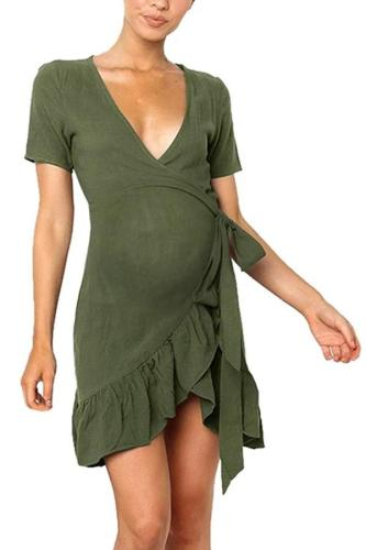 V Neck Short Sleeve Ruffle Pregnant Photo Robe Femme Dress