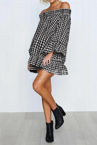 Maternity Checkered Off-The-Shoulder Ruffle Dress