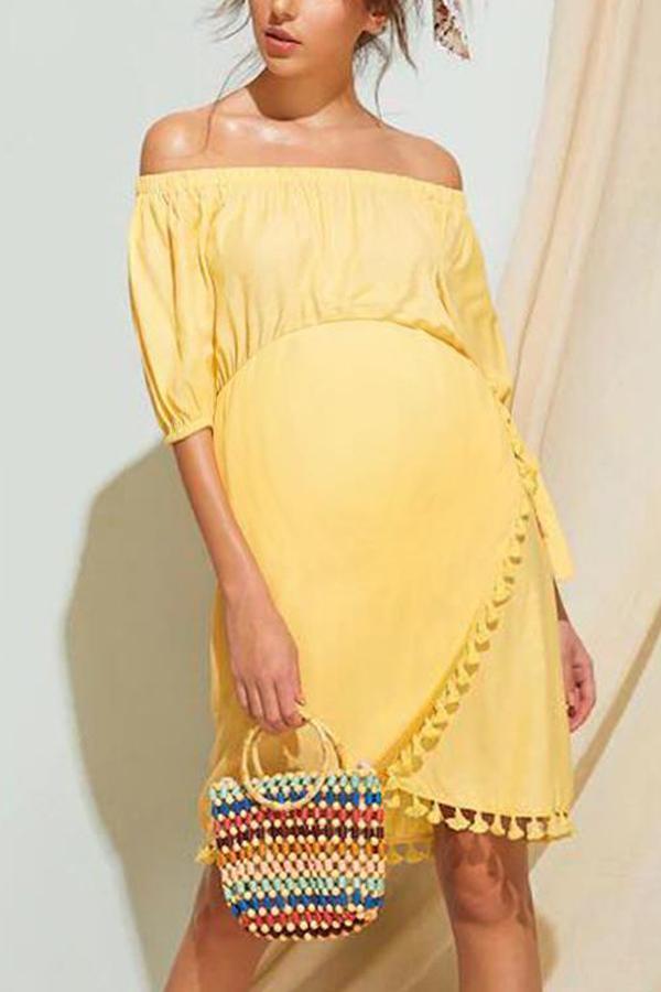 Maternity Off Shoulder Plain Tassel Casual Dress