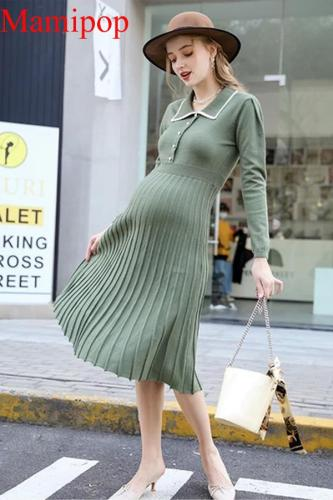 Over the Knee Knit Dress Autumn and Winter Skirt Maternity Dresses