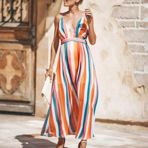 Maternity Deep V-Neck Color Stripe Maxi Dress