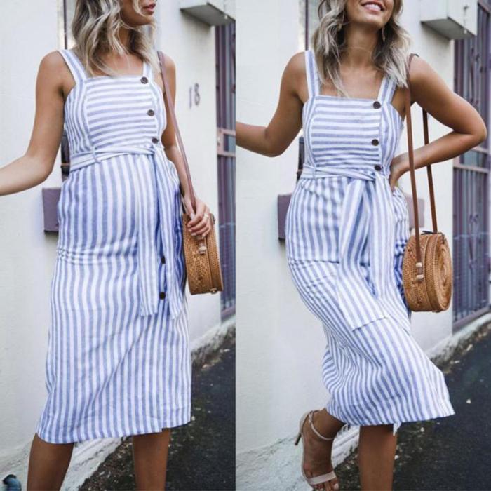 Maternity Striped Cardigan Halter Dress