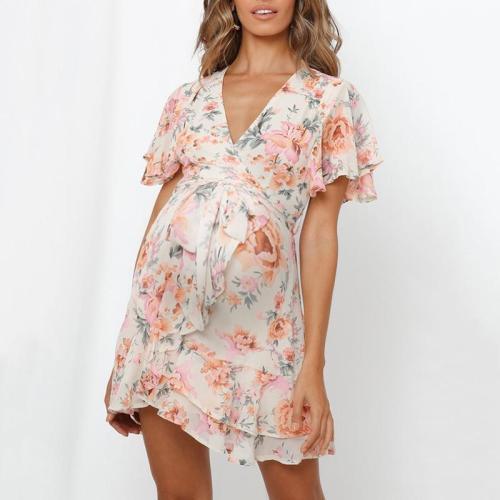 Maternity V-neck Sexy Ruffled Sleeve Dress