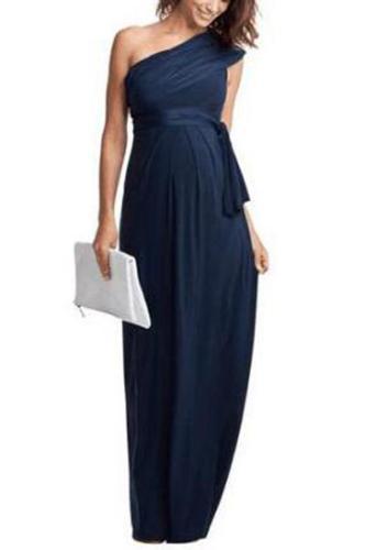 Maternity One Shoulder Bow Tie Full Length Dress