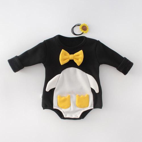 Winter Baby Round Neck  Penguin Jumpsuit Climbing Suit Plush Thickening