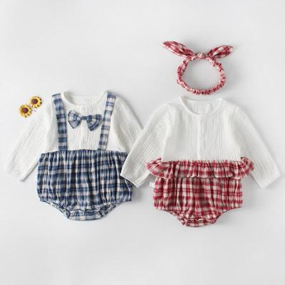 New Plaid Splicing Brother and Sister Pack Outgoing Siamese Hat Climbing Clothes in Autumn 2020