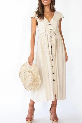 Maternity V-Neck Short Sleeve Maxi Dress