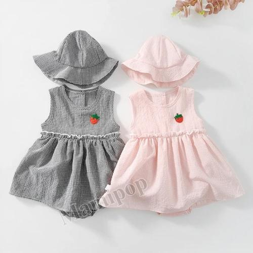 Summer New Baby Girl Plaid Sleeveless Vest Cotton Triangle Climbing Hat Dress