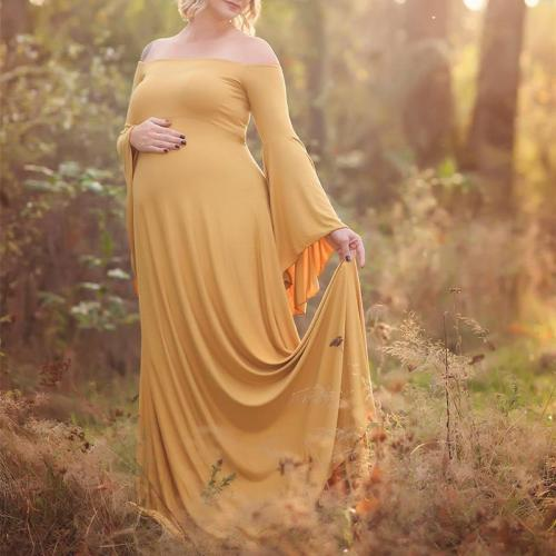 Maternity Sexy Solid Color Strapless Mopping Dress