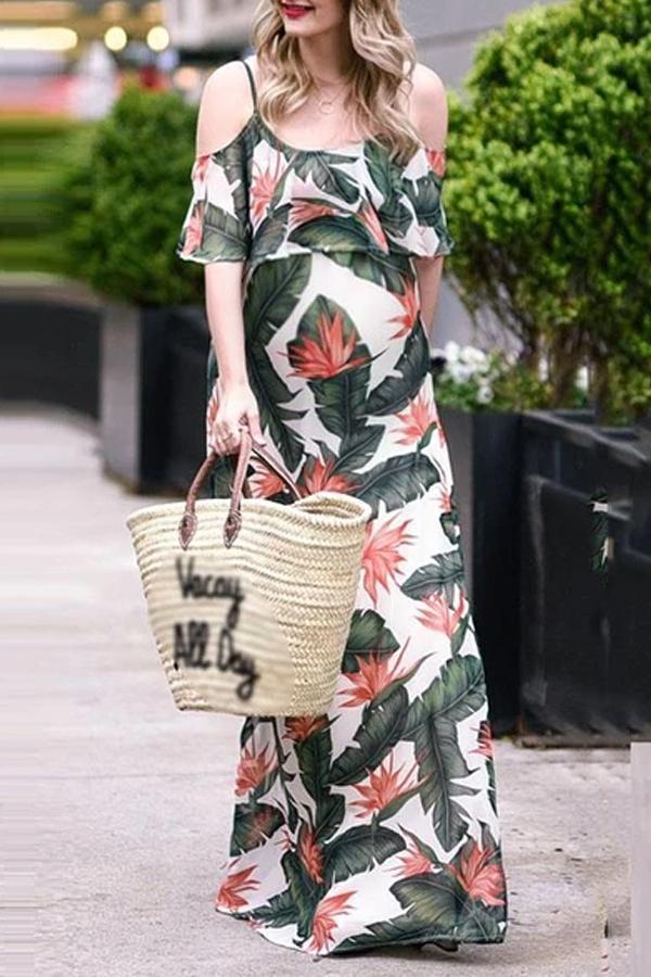 Maternity dress word collar fashion print ruffled dress