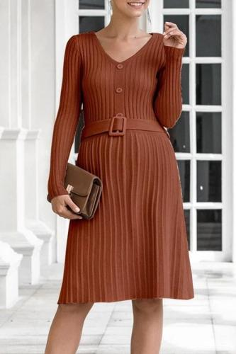 Fashion V-neck lace-up maternity knit sweater dress