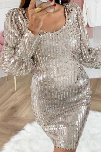 Maternity Fashion Square Collar Dress