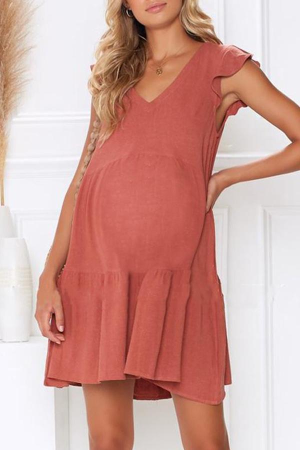 Maternity Plain V-Neck Loose Casual Falbala  Dress