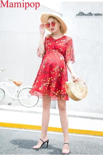Floral Chiffon High Waist Fashion  Breastfeeding Skirt