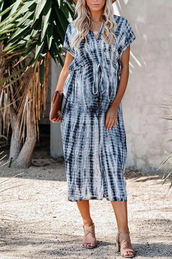 Maternity V-Neckline Tie Dye Midi Dress