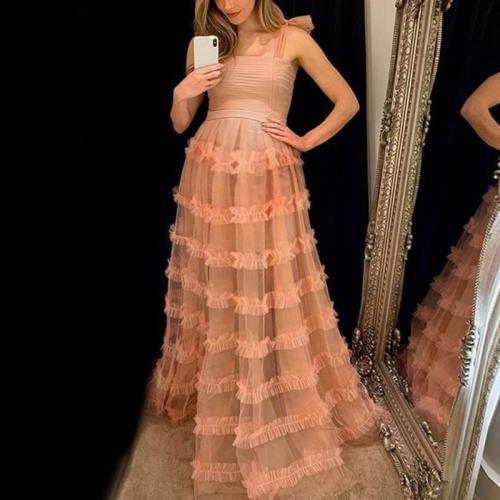 Maternity Pure-Color Open-Shoulder Sleeveless Sling Dress