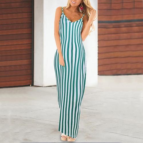 Maternity Spaghetti Strap Stripe Maxi Dress