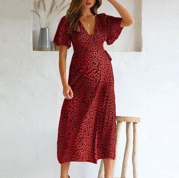 Maternity V Neck Leopard Print Lace-Up Dress