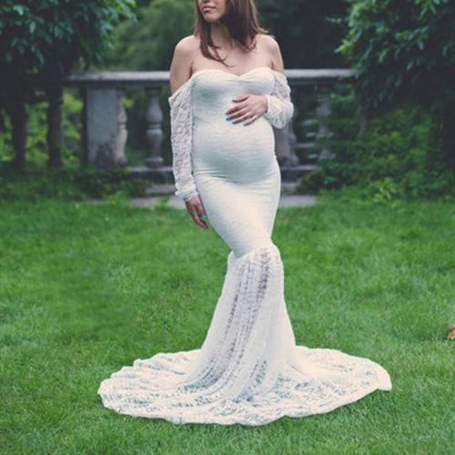 Trailing Long Sleeve Photography Dress Maternity