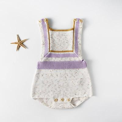 Baby Geometric Suspenders Knitted Wool Jumpsuit Wrapped Romper