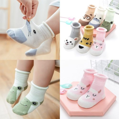 Kids Infant Baby Boys Girls Breathable Cartoon Animals Print Non-slip Socks Animal Mesh Socks