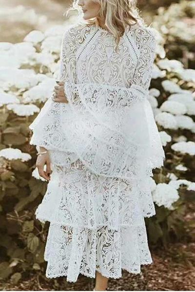 Maternity Lace Pure Color Bell Sleeve Layered Dress