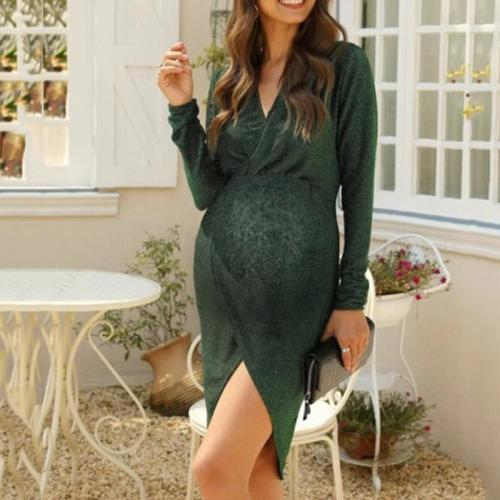Maternity Sexy V-neck solid color long sleeve dress