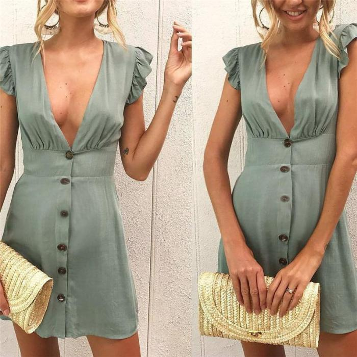 Maternity V-Neck Button Tunic Solid Color Dress