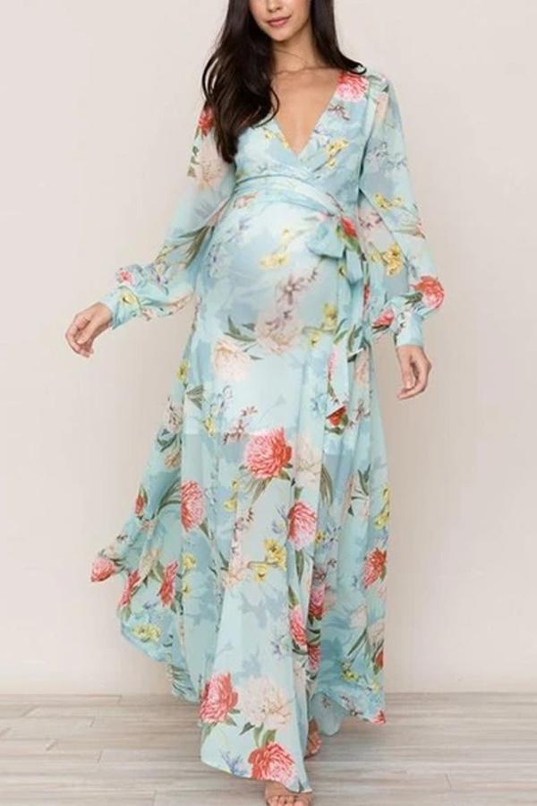 Maternity V-neck Floral Print Long Sleeve Dress