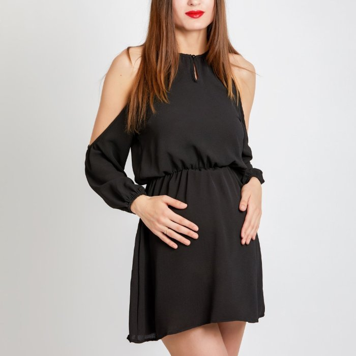 Maternity Round Neck  Backless  Plain  Lantern Dresses