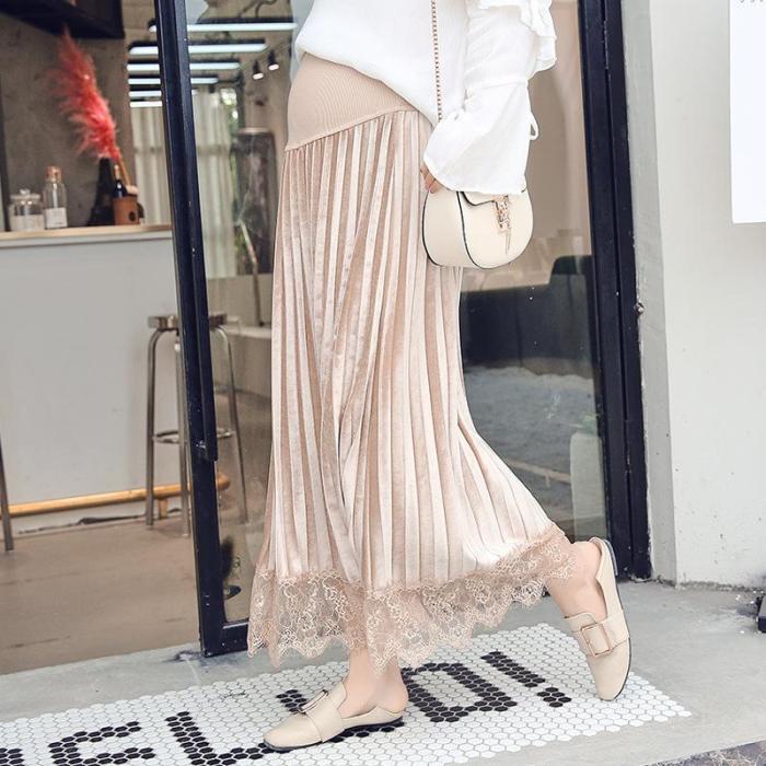 Maternity Pure Color Lace Spliced Semi-Body Skirt