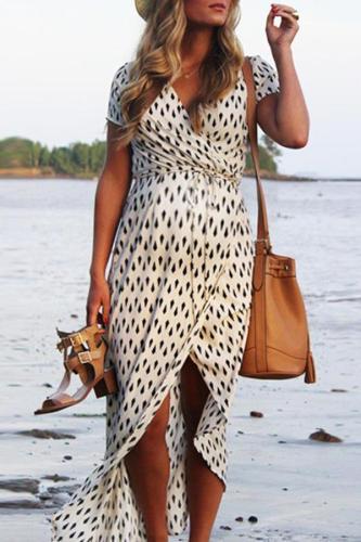 Maternity V-Neck Geometric Pattern Maxi Dress