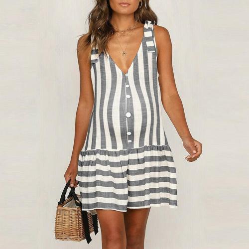 Maternity V-Neck Stripe Loose Above Dress