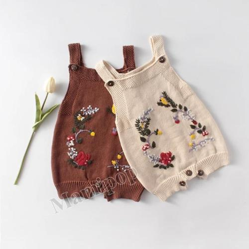 Squirrel Hand Embroidered Infant Knitted Wool jumpsuit