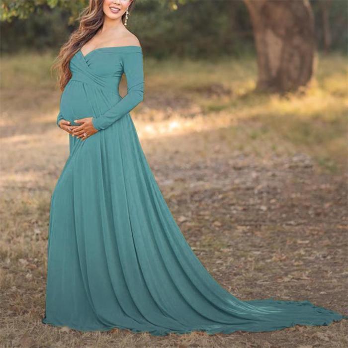 Maternity Off Shoulder Long Sleeve Floor-Length Gorgeous Dress