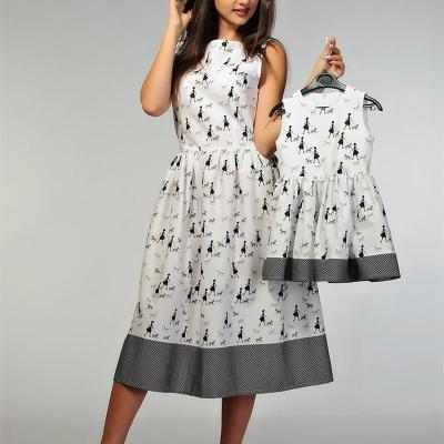 Cute Printed Colour Sleeveless Parent-child Dress