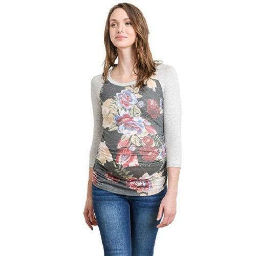 Long Sleeve Crew Neck Printed Maternity T-Shirt