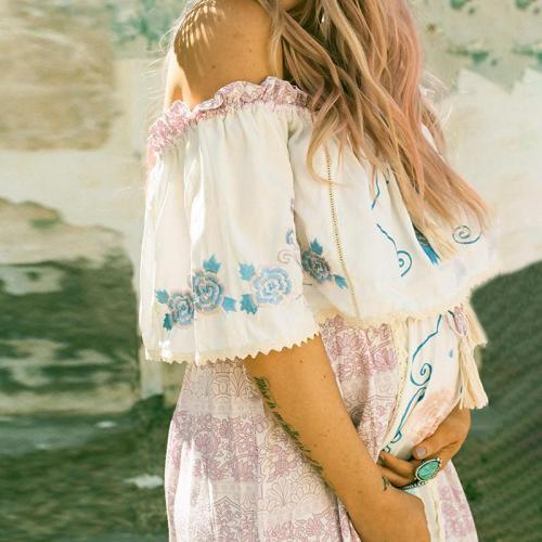 Maternity Elegant Word Collar Stitching Print Dress