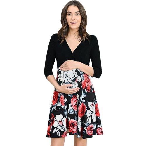 Ladies Maternity Half Sleeve Floral Print Patchwork V Neck Mini Dress