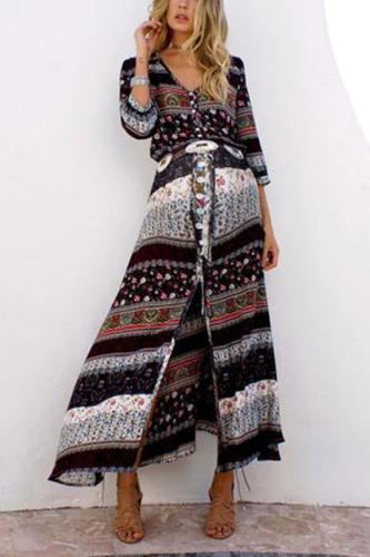 Maternity Holiday Deep V Printed Split Dress Maxi Dress