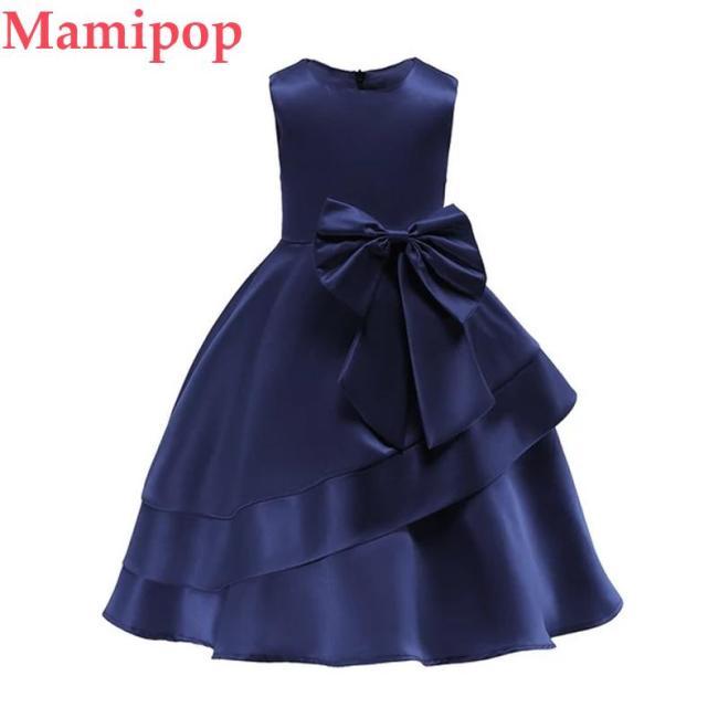 Girls Solid Color Bow-Knot Princess Dress Children Tutu Dress
