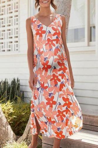 Maternity V-Neck Printing Casual Maxi Dress